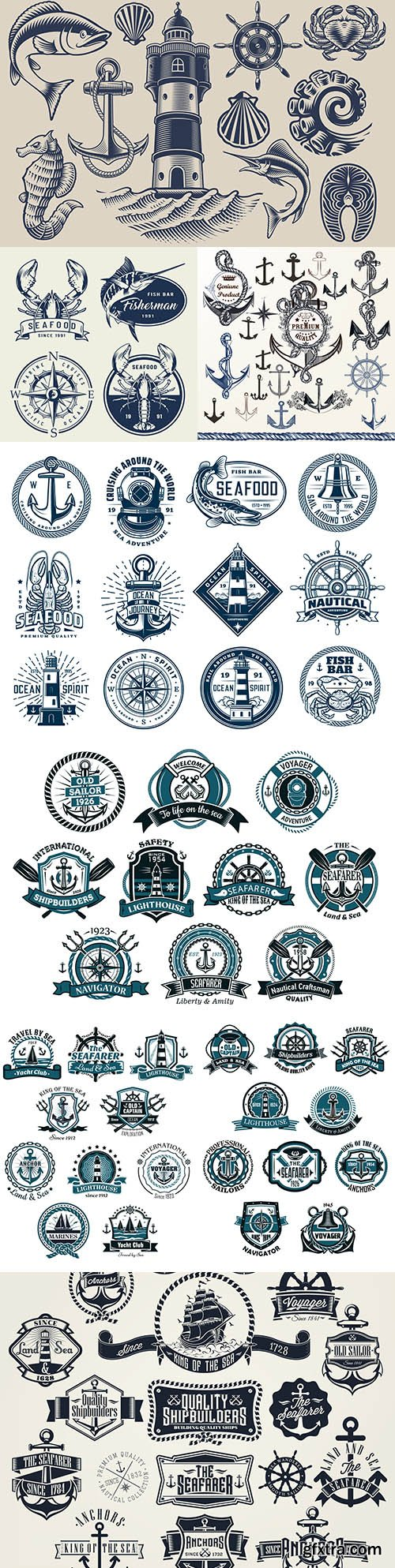 Marine anchor set of labels and design logos 5