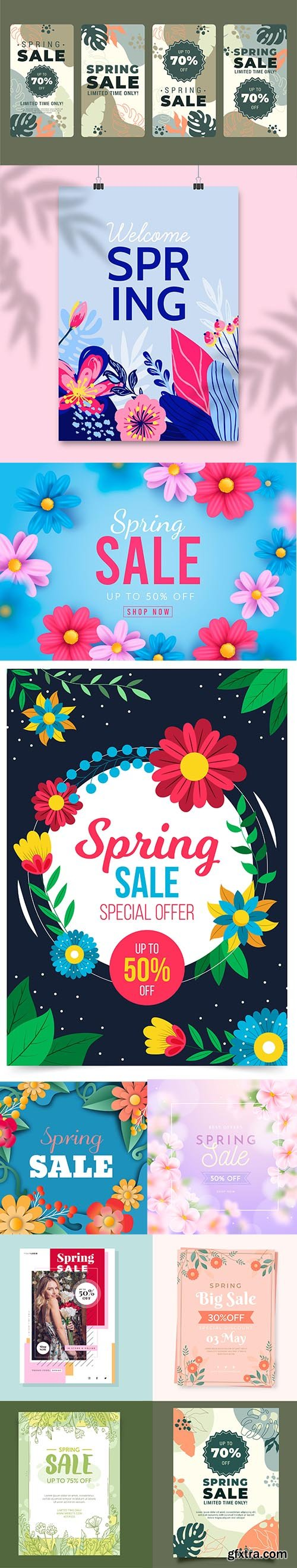 Hand-drawn Spring Sale Vector Collection