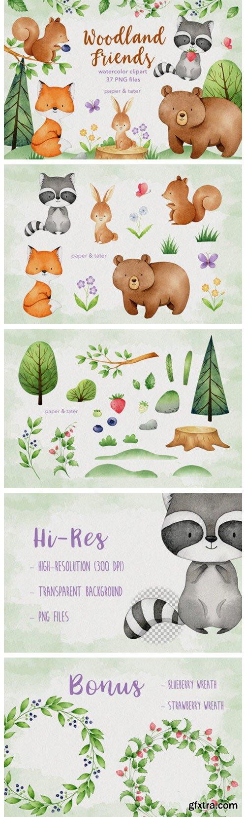 Watercolor Woodland Animals Clipart Set 8918666