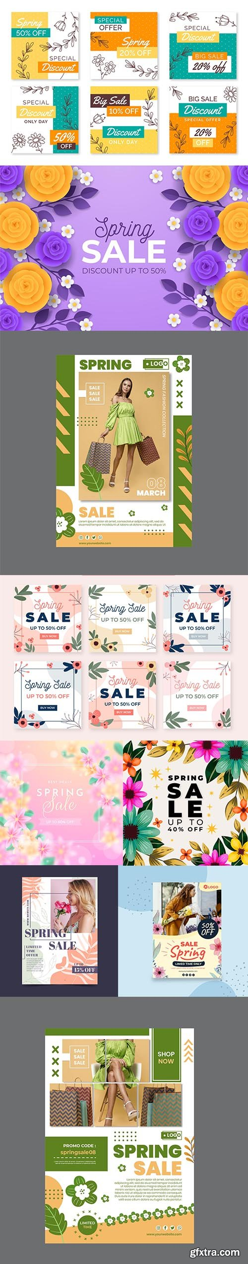 Hand-drawn Spring Sale Vector Collection vol 2