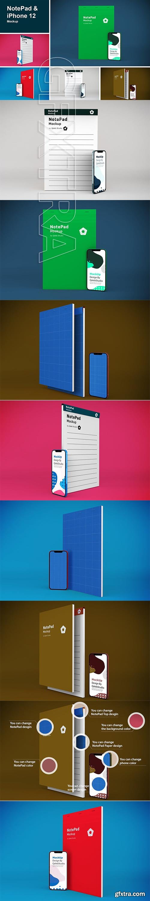 NotePad & iPhone 12 Mockup