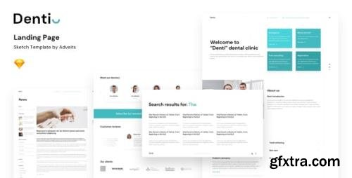 ThemeForest - Denti v1.1.0 - Landing page Sketch Template - 24398985