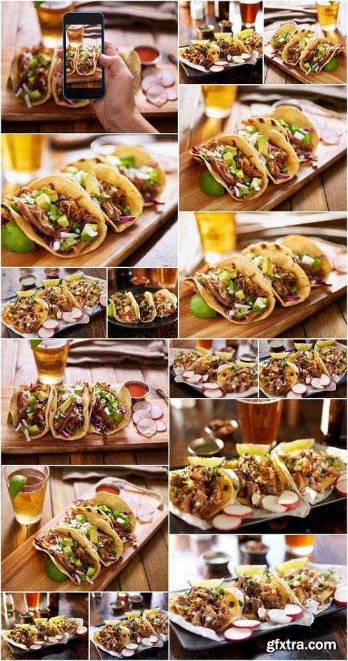 Three different mexican street tacos with shrimp, steak, and fish - 16xHQ JPEG