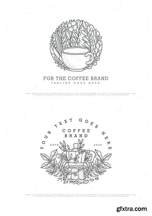 Vintage line art coffee logo