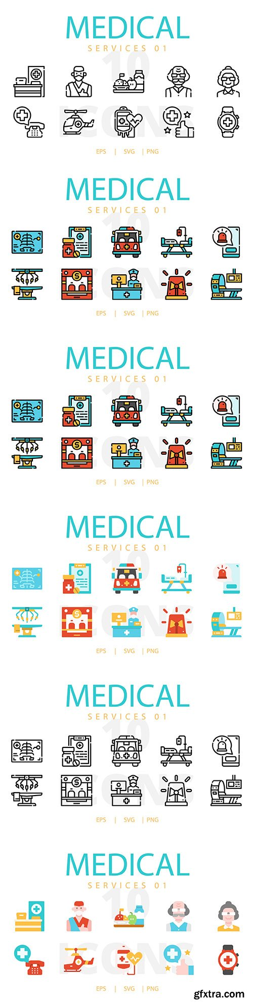Medical service icons collection