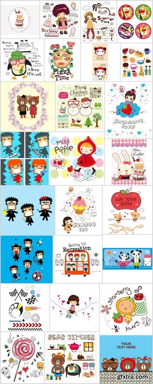 Doodle cartoon characters and illustration - Set of 26xEPS Professional Vector Stock