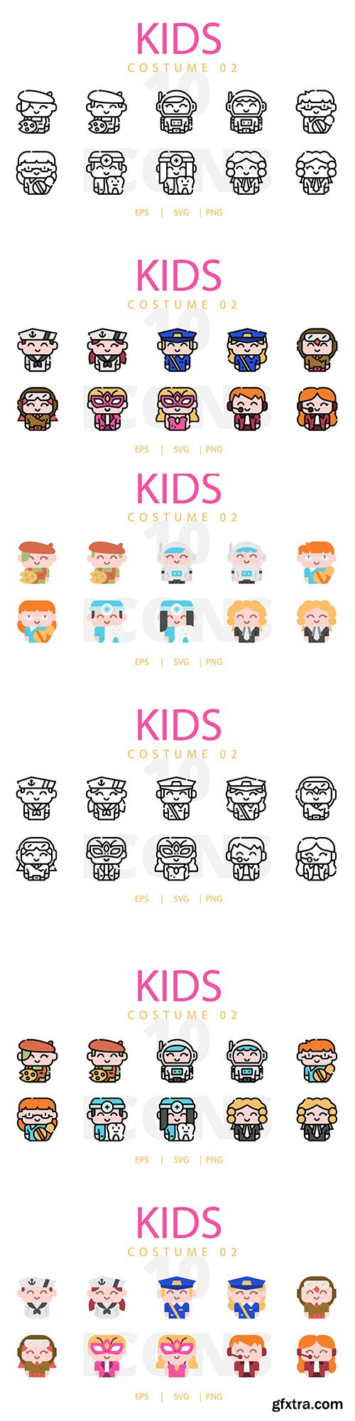 Kids Costume Vector Icons