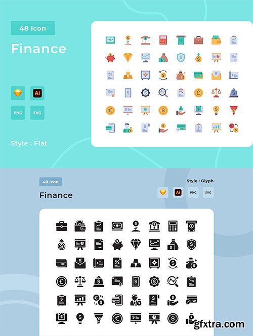 96 Finance Flat and Glyph Style Icon Pack