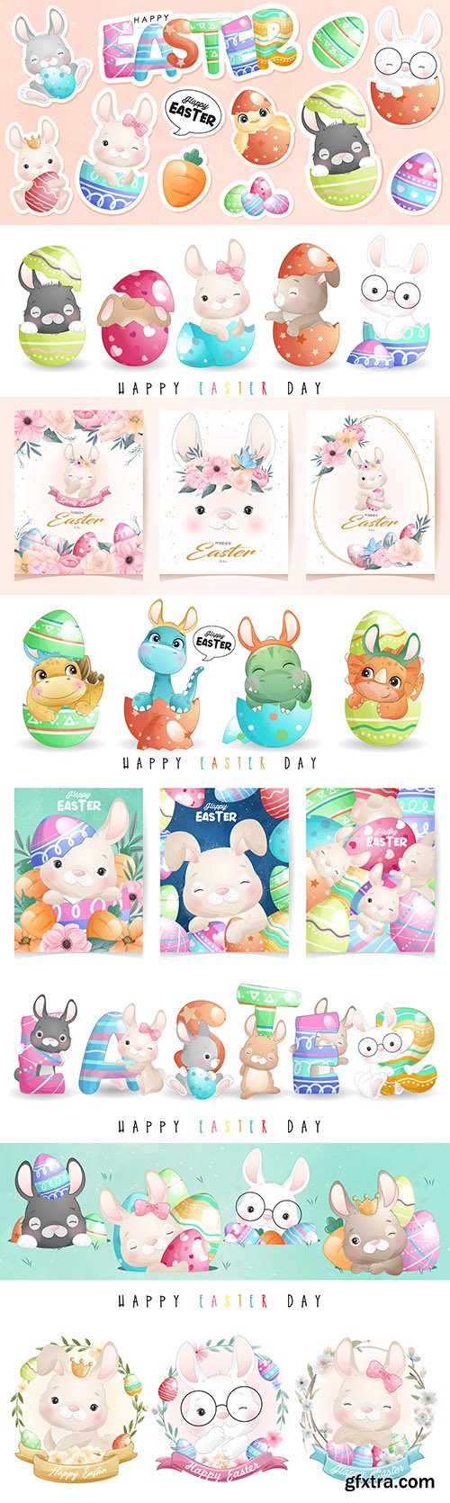 Cute rabbit illustrations and stickers for happy Easter day