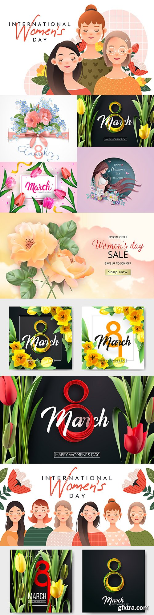 Happy Women's Day March 8 design illustrations 8