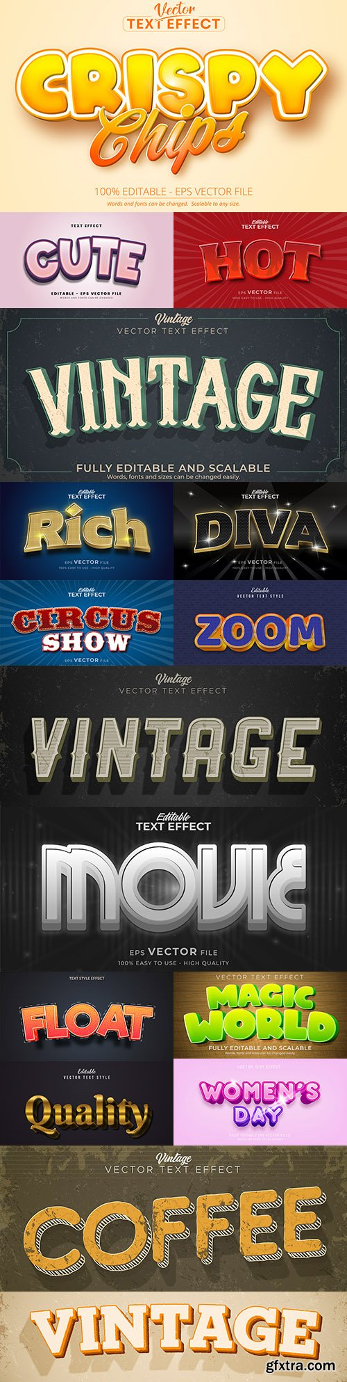 Editable font and 3d effect text design collection illustration 33