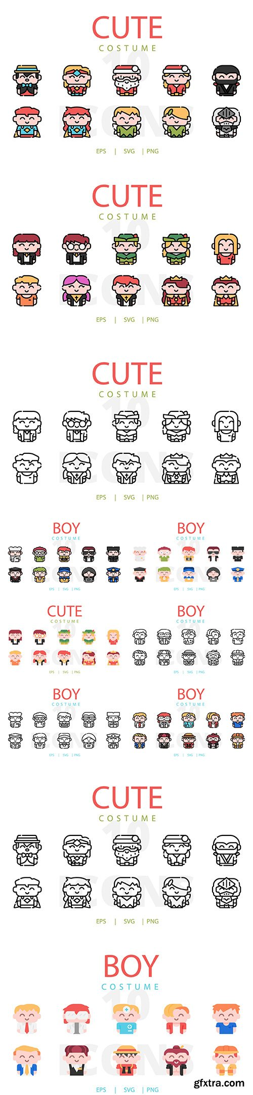Kids Costume Vector Icons Collection Vol 2