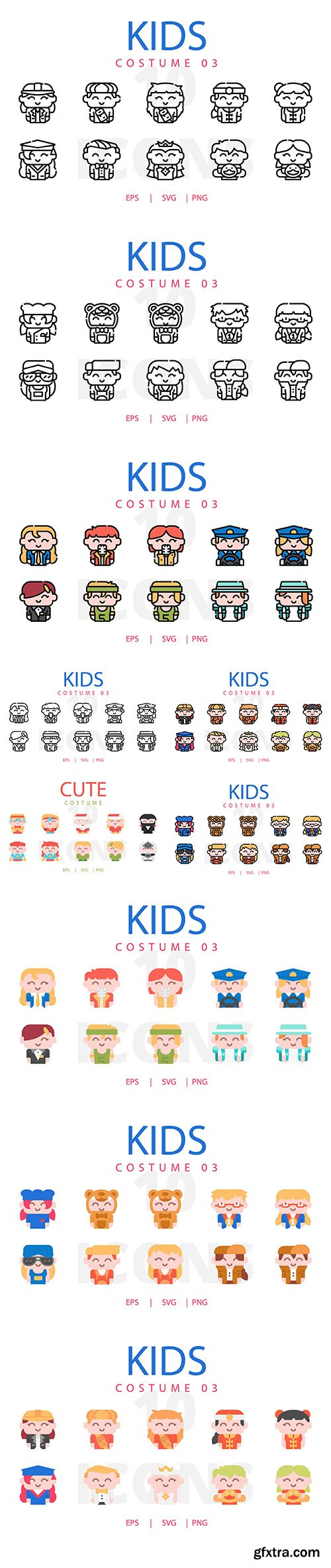 Kids Costume Vector Icons Collection