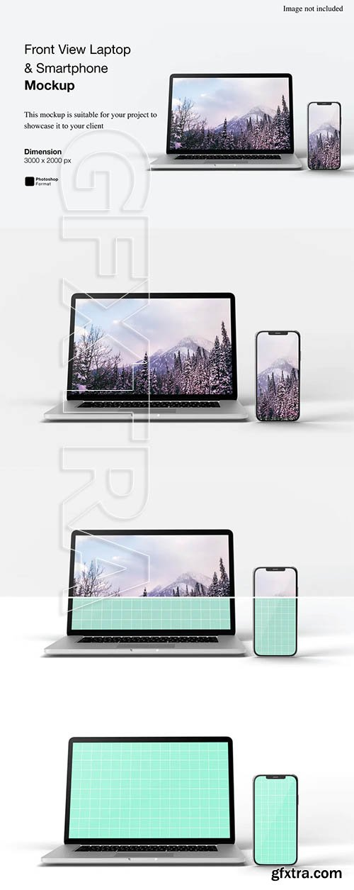 Front View Laptop and Smartphone Mockup