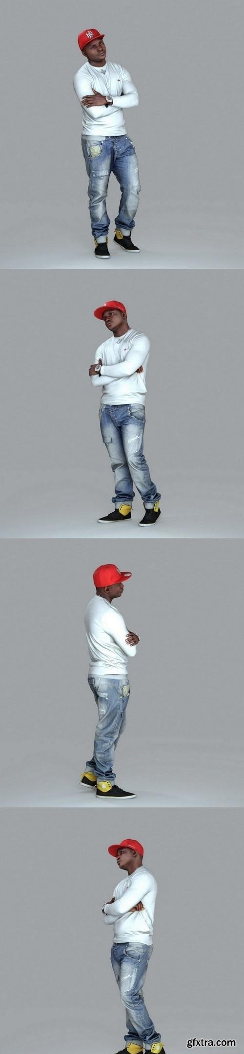 Casual Man with Red Cap and Jeans 3d model