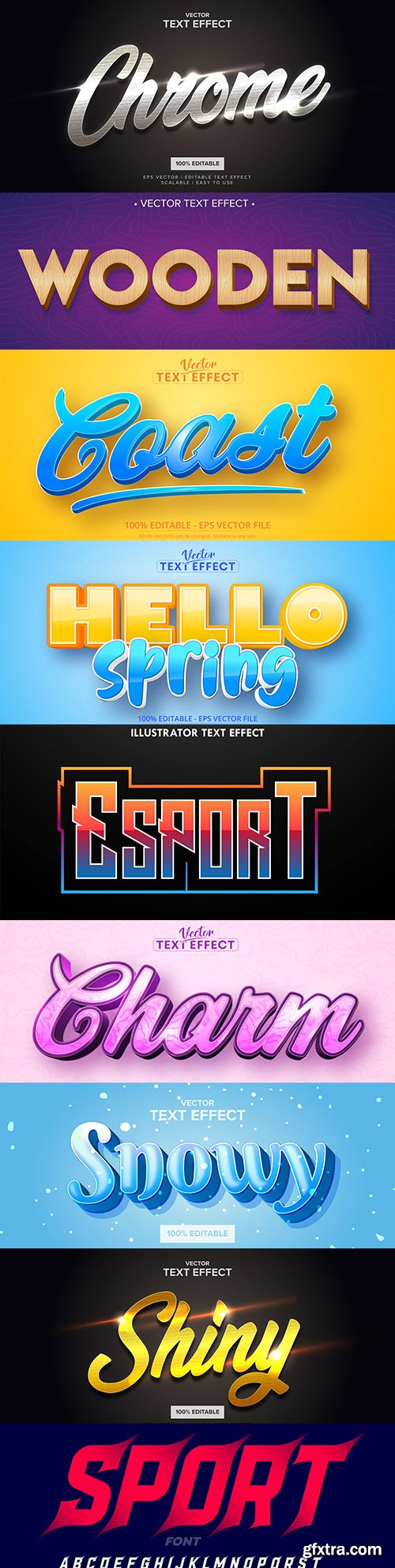 Editable font and 3d effect text design collection illustration 35