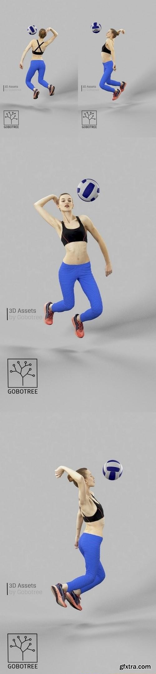 Barbara Sportswear Woman Smashing in Volleyball Leggins 3D Model