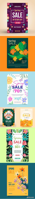Pretty spring sale flyer template set