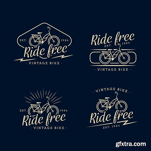 Vintage bike logo collection