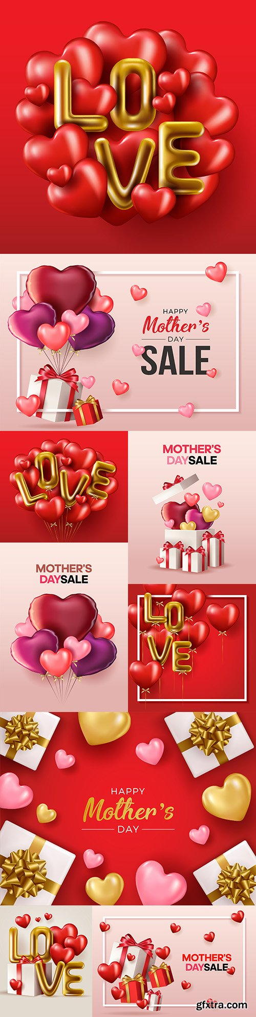 Happy Mother's Day design banner with gifts and hearts