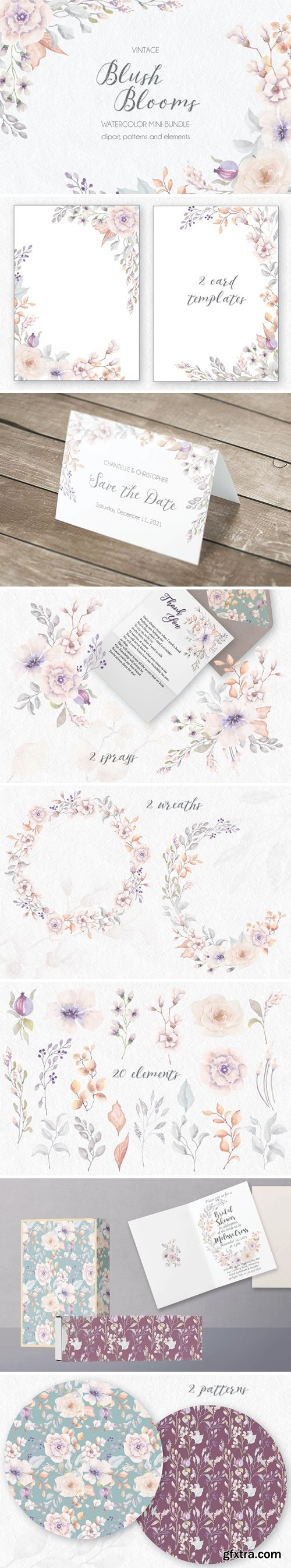Vintage Blush Blooms in Watercolor