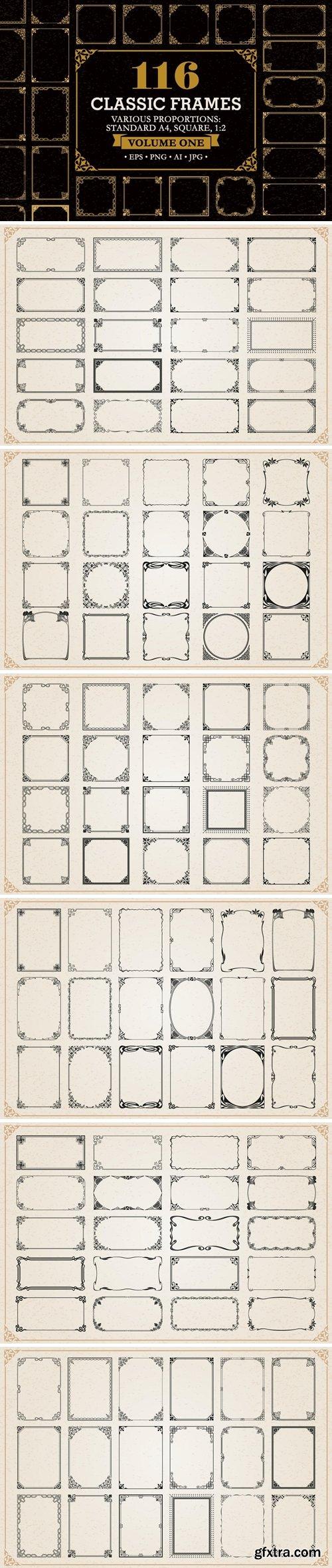 Decorative frames and borders set #1, 116 Elements