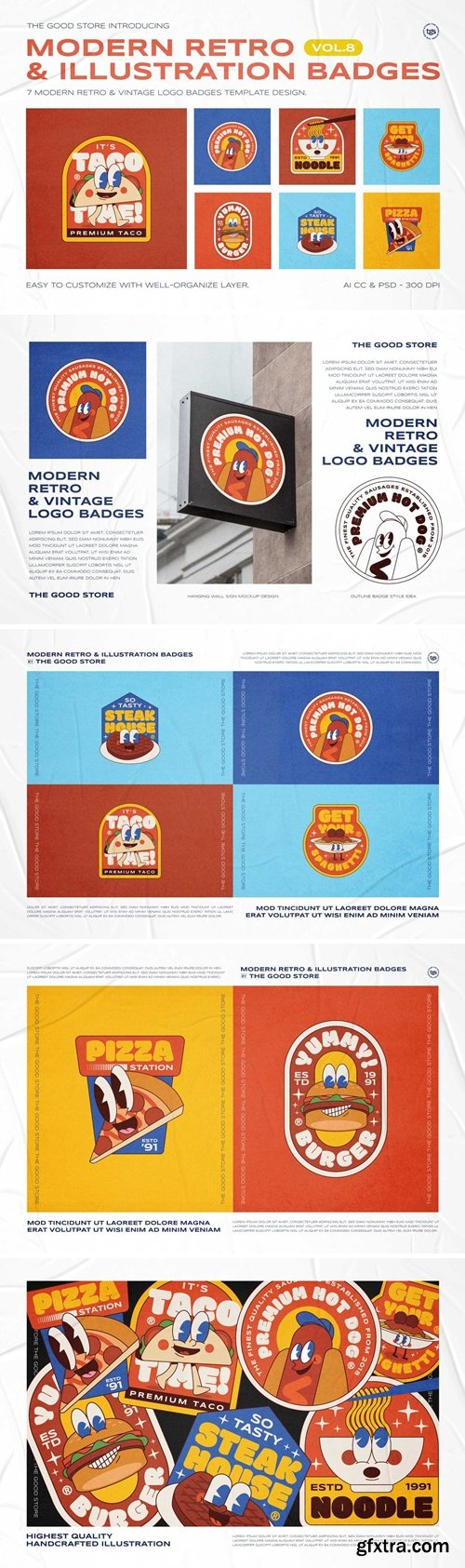 Modern Retro Illustration Logo Badges Set Vol.8