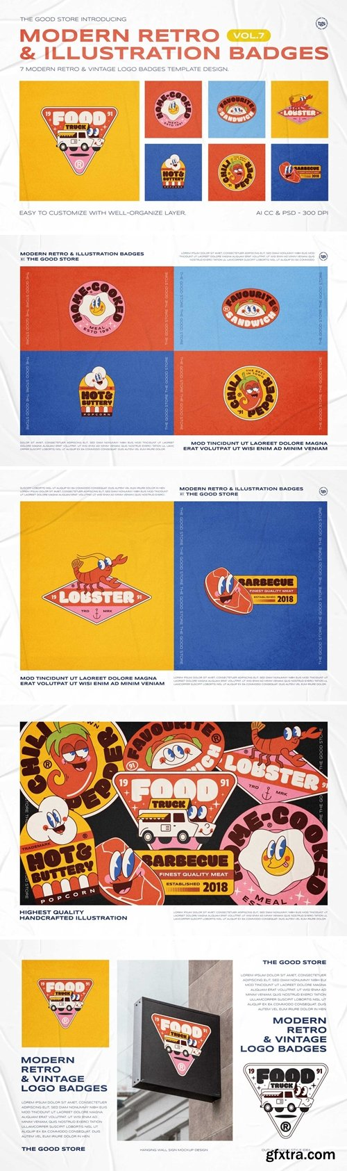 Modern Retro Illustration Logo Badges Set Vol.7