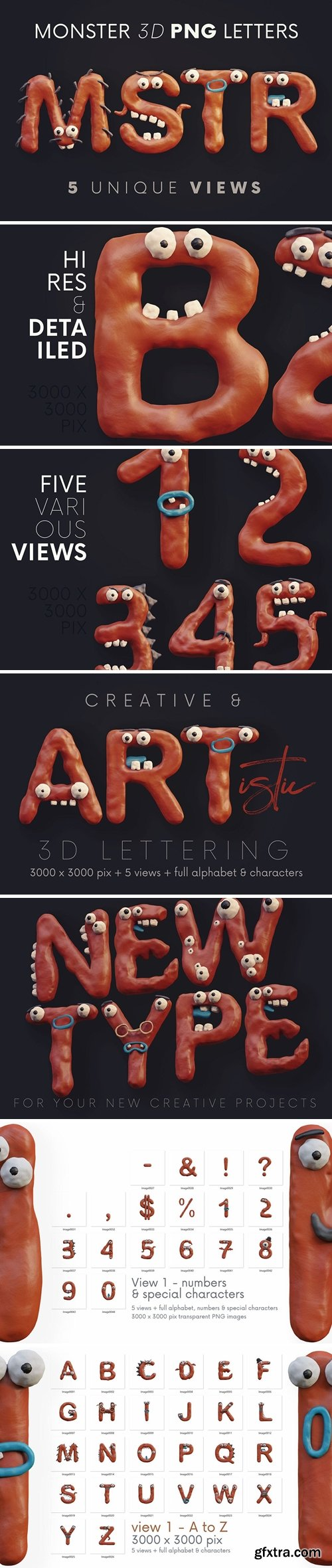 Plasticine Monsters - 3D Lettering