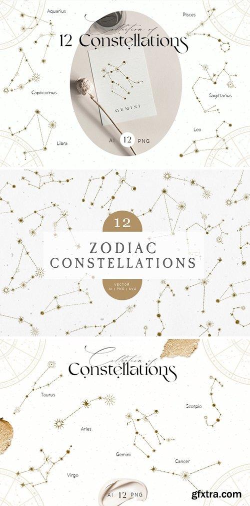 Zodiac Constellation Gold Icons