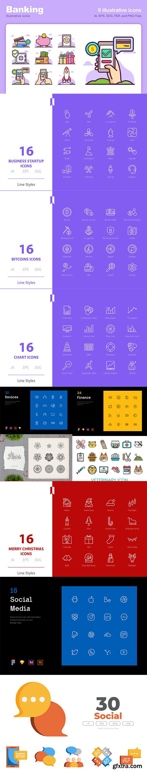 Mix collection of vector icons vol 9