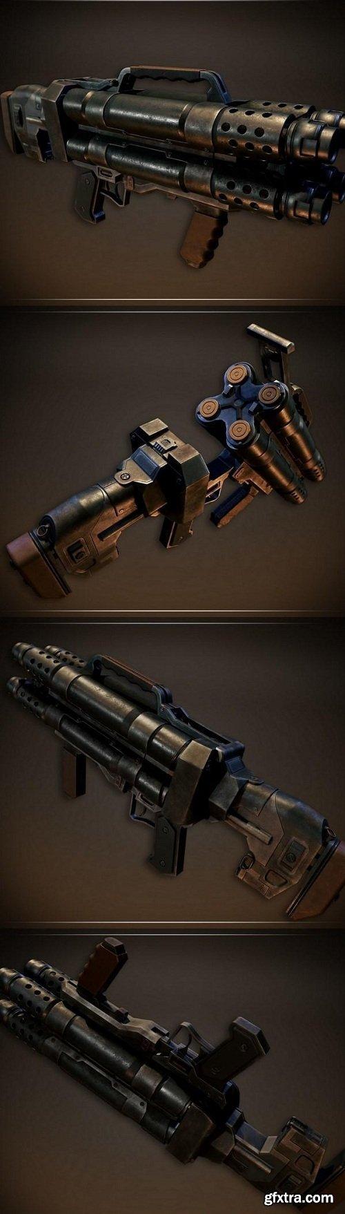 PBR Quad Barrel Shotgun 3D model