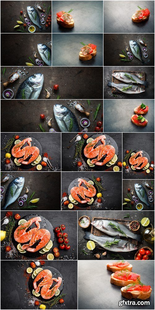 Salmon stake, Dorado, Fresh fish Seabass and Sandwich with Salmon - 20xHQ JPEG