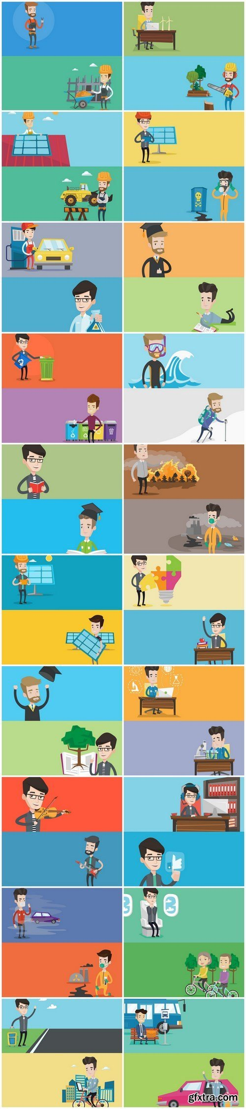 Life of people - flat design 2 - Set of 20xEPS Professional Vector Stock