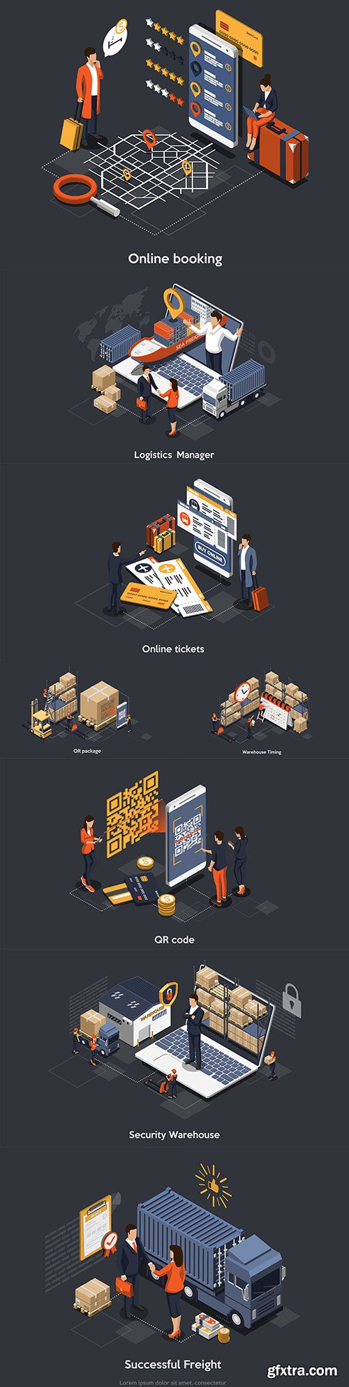 Isometric concept of warehouse deadlines and timely delivery