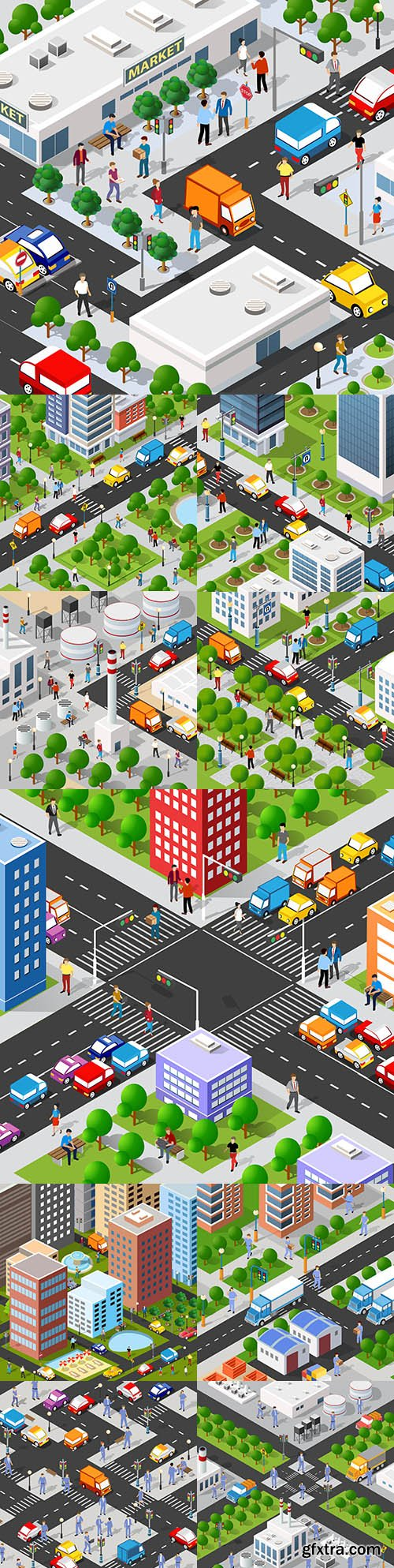 Isometric 3d illustration of the city block with houses and streets