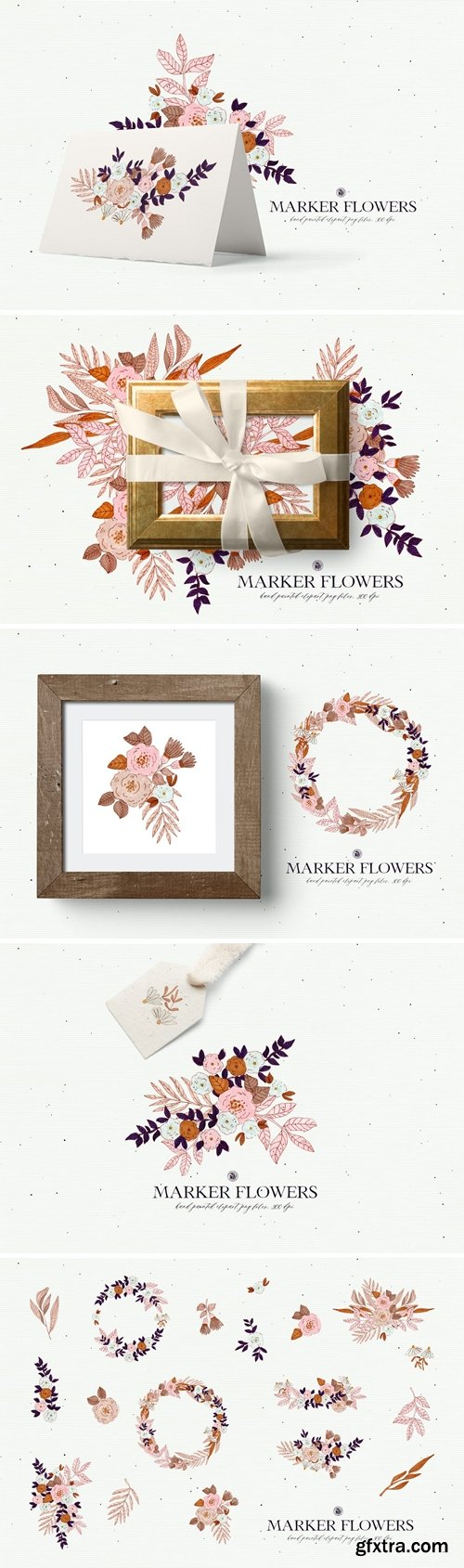 Marker Flowers - hand drawn floral clipart