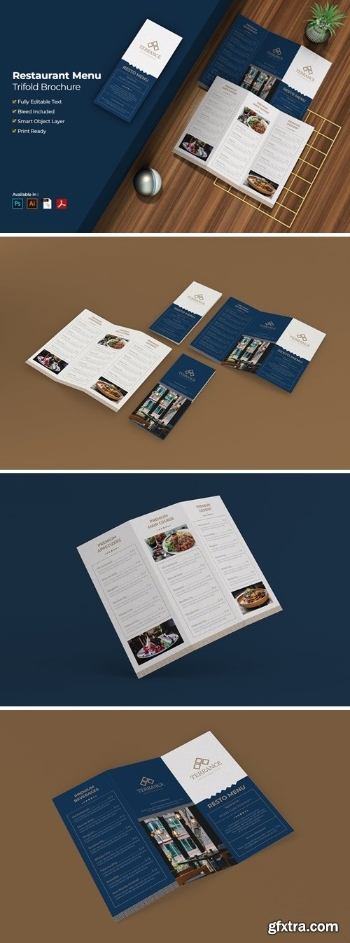 Restaurant Menu Trifold Brochure