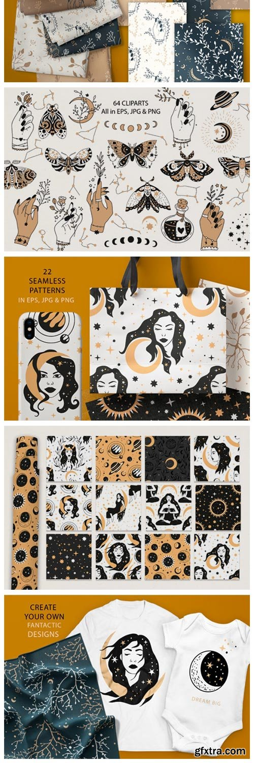 Celestial Clipart & Pattern Magic Pack 8061238