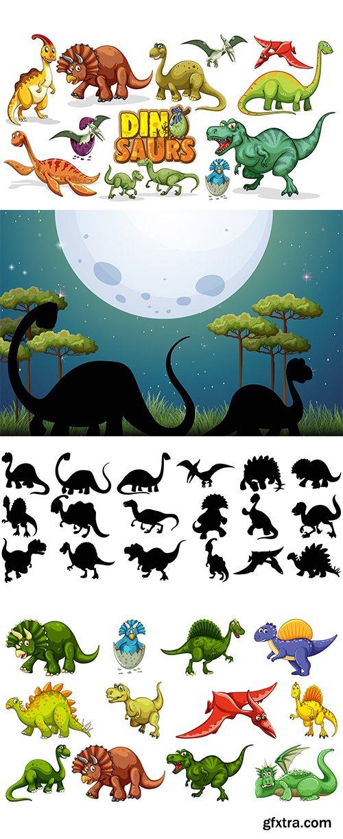 Set of different dinosaur cartoon character