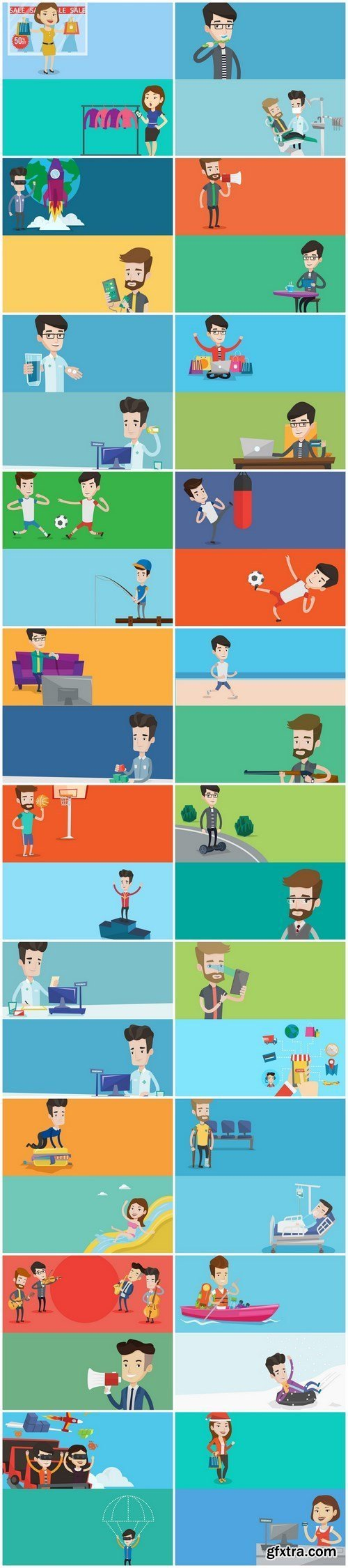 Life of people - flat design, 20xEPS