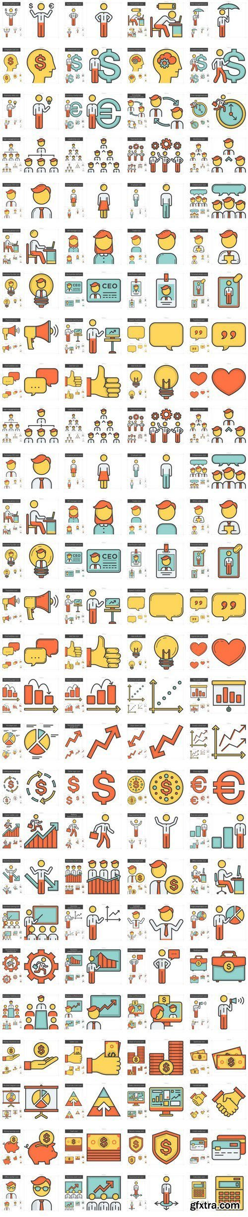 Human resources line icon set - 20xEPS