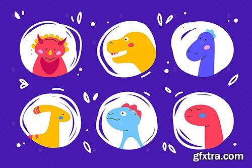 Dinosaurs faces - set of characters