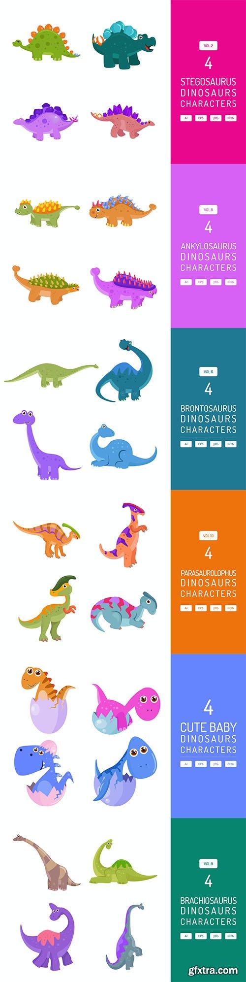 Dinosaurs Character Vector Set
