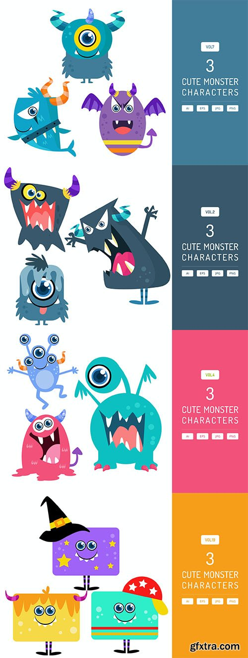 Cute monster characters set