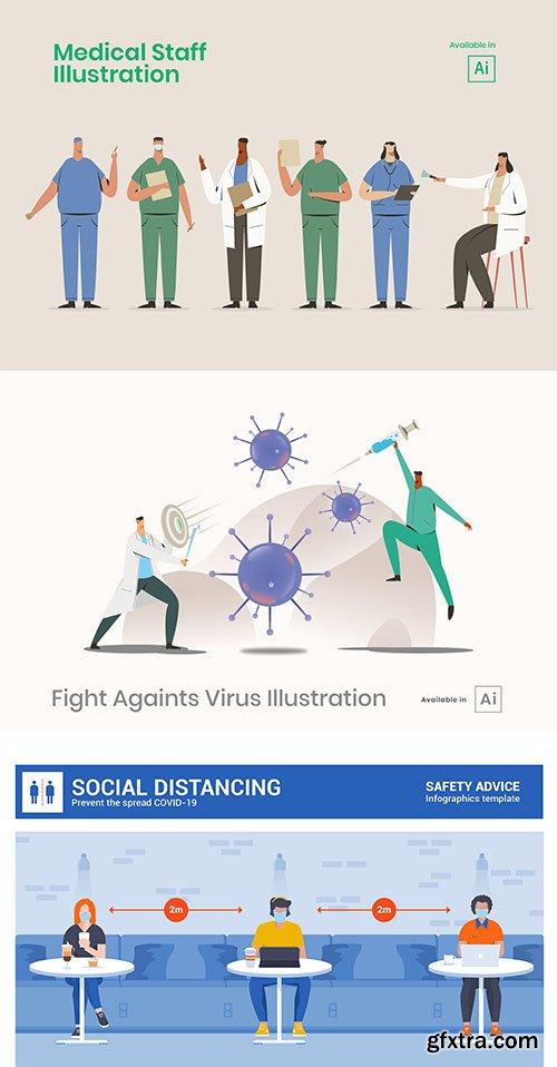 Medical staff and social distancing illustrations set