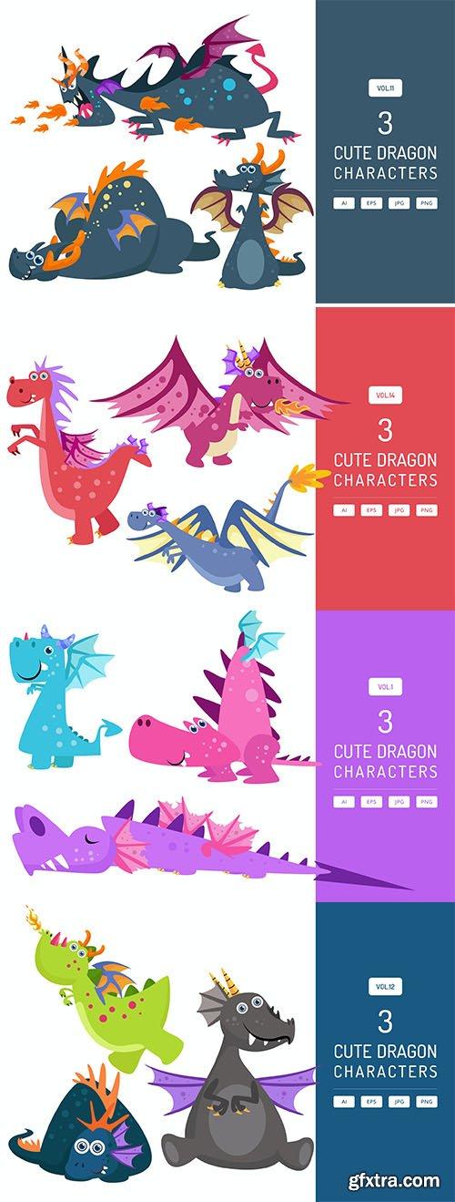 Cute dragon characters set