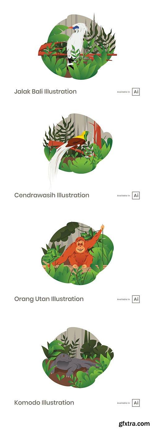 Beautiful animals vector illustrations