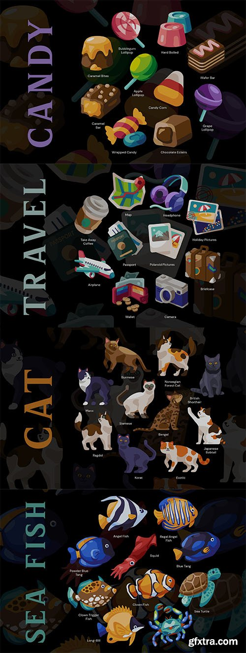 Sea fish, cat, candy and travel design object set