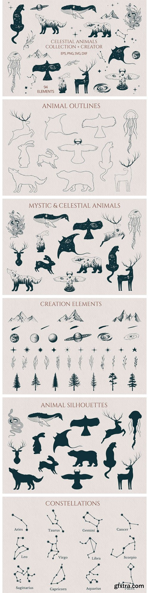 Hand Drawn Celestial Animals Collection 9519698